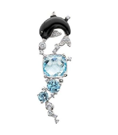 Necklaces - 5.44 Carat Square Cut Blue Topaz and Diamond Necklace in 14Kt White Gold