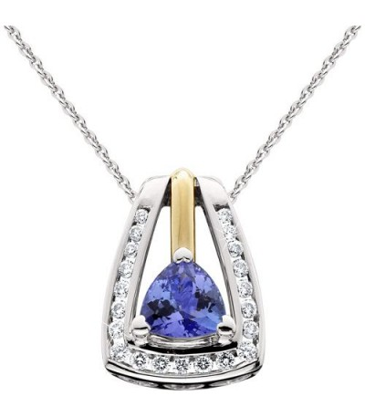 Necklaces - 0.80 Carat Trilliant Cut Tanzanite and Diamond Pendant in 14Kt Two-Tone Gold