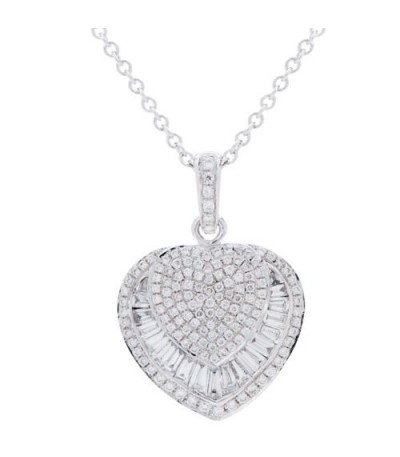 Necklaces - 0.73 Carat Baguette and Round Cut Diamond Necklace in 14Kt White Gold