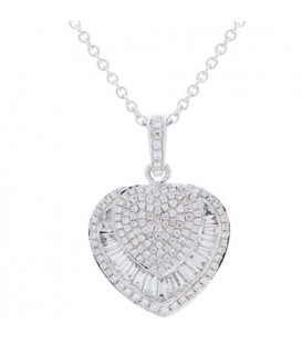 More about 0.73 Carat Baguette and Round Cut Diamond Necklace in 14Kt White Gold