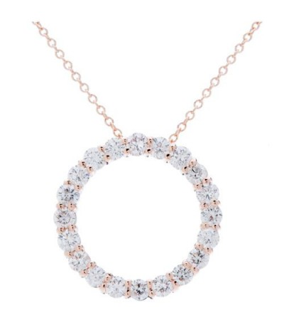 Necklaces - 1.25 Carat Round Cut Diamond Necklace in 14Kt Rose Gold