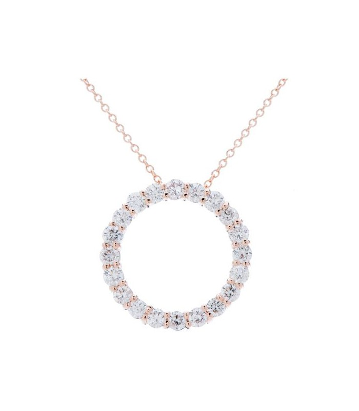 Necklaces - 1.25 Carat Round Cut Diamond Necklace in 14Kt Rose Gold 3472c2fca8
