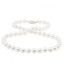6.5-7mm White Cultured Akoya Pearl Necklace with a 14Kt Yellow Gold Clasp