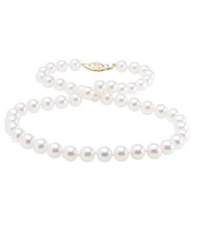 Necklaces - 7-7.5mm White Cultured Akoya Pearl Necklace with a 14Kt Yellow Gold Clasp