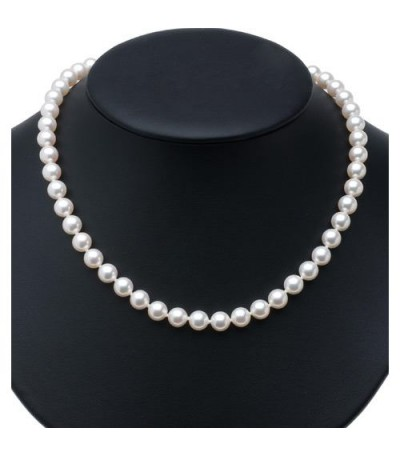 7-7.5mm White Cultured Akoya Pearl Necklace with a 14Kt Yellow Gold Clasp