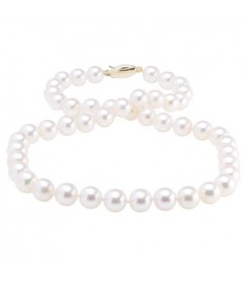 Necklaces - 7.5-8mm White Cultured Akoya Pearl Necklace with a 14Kt Yellow Gold Clasp