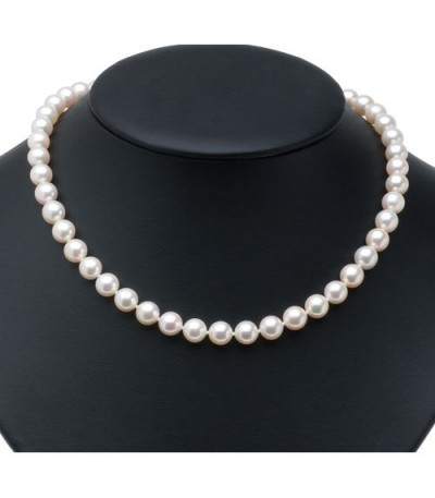 7.5-8mm White Cultured Akoya Pearl Necklace with a 14Kt Yellow Gold Clasp