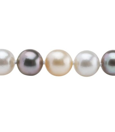 12-9mm Cultured South Sea and Tahitian Pearl Necklace Strand with a 14Kt Gold Clasp