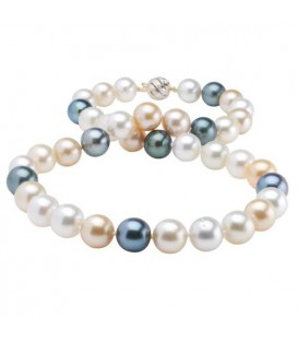 12-9mm Multi-color Cultured South Sea and Tahitian Pearl Necklace Strand with a 14Kt Two-Tone Gold Clasp