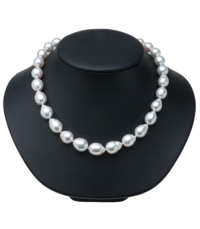 12-9mm White Cultured South Sea Pearl Necklace Strand with a 14Kt White Gold Clasp