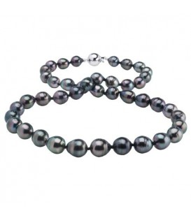 8-10mm Black Cultured Tahitian Pearl Necklace with a 14Kt White Gold Clasp