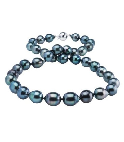 Necklaces - 8-11mm Black Cultured Tahitian Pearl Necklace with a 14Kt White Gold Clasp