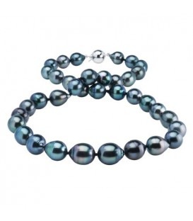 More about 8-11mm Black Cultured Tahitian Pearl Necklace with a 14Kt White Gold Clasp
