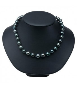 8-11mm Black Cultured Tahitian Pearl Necklace with a 14Kt White Gold Clasp