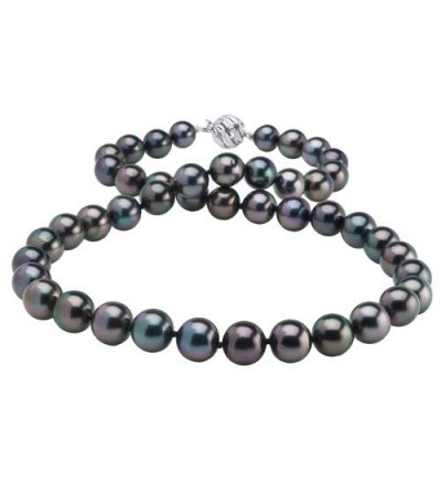Necklaces - 8-10mm Black Cultured Tahitian Pearl Necklace with a 14Kt White Gold Clasp
