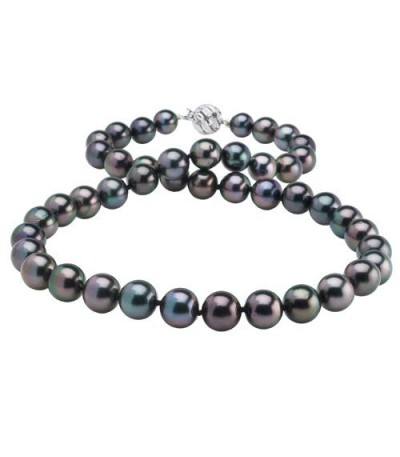Necklaces - 9-12mm Black Cultured Tahitian Pearl Necklace with a 14Kt White Gold Clasp