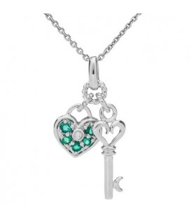 Necklaces - 0.11 Carat Round Cut Emerald and Diamond Necklace 14Kt White Gold
