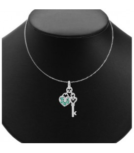 0.11 Carat Round Cut Emerald and Diamond Necklace 14Kt White Gold