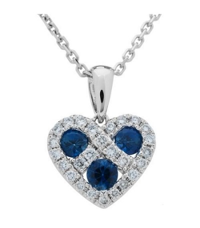 Necklaces - 0.29 Carat Round Cut Sapphire and Diamond Heart Necklace 14Kt White Gold