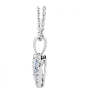 0.42 Carat Round Cut Sapphire and Diamond Heart Necklace 14Kt White Gold