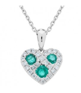 0.41 Carat Round Cut Emerald and Diamond Heart Necklace 14Kt White Gold