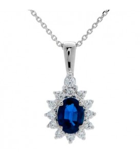 Necklaces - 1.40 Carat Classic Sapphire and Diamond Pendant 18Kt White Gold