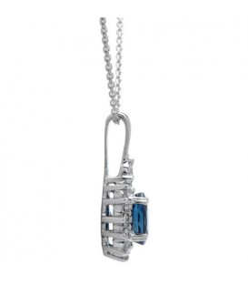 1.40 Carat Classic Sapphire and Diamond Pendant 18Kt White Gold