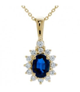 Necklaces - 1.40 Carat Classic Sapphire and Diamond Pendant 18Kt Yellow Gold