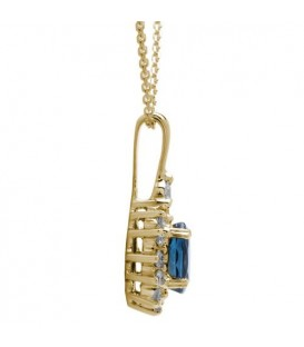 1.40 Carat Classic Sapphire and Diamond Pendant 18Kt Yellow Gold