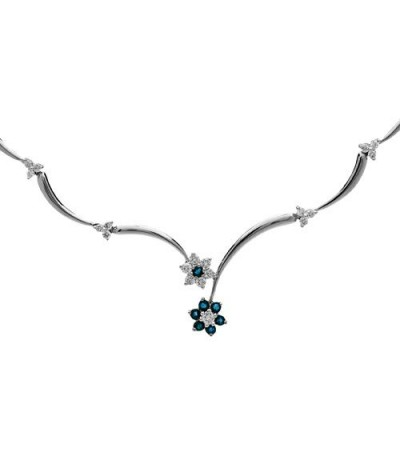 Necklaces - 1.15 Carat Sapphire and Diamond Necklace 18Kt White Gold