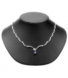 1.15 Carat Sapphire and Diamond Necklace 18Kt White Gold