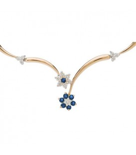 Necklaces - 1.15 Carat Sapphire and Diamond Necklace 18Kt Yellow Gold