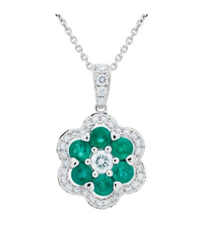 Necklaces - 1.42 Carat Emerald and Diamond Pendant 18Kt White Gold