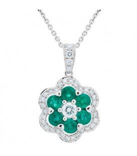 More about 1.42 Carat Emerald and Diamond Pendant 18Kt White Gold