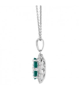 1.42 Carat Emerald and Diamond Pendant 18Kt White Gold