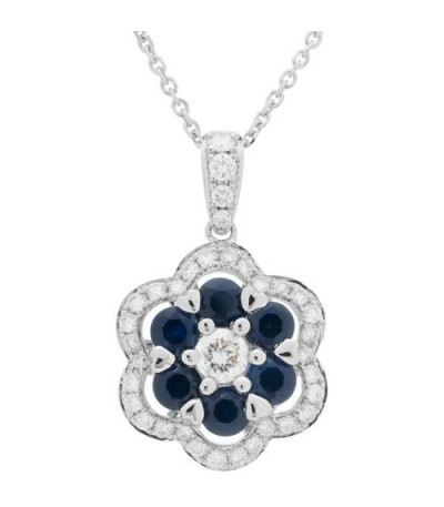 Necklaces - 1.52 Carat Sapphire and Diamond Pendant 18Kt White Gold