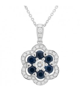 More about 1.52 Carat Sapphire and Diamond Pendant 18Kt White Gold