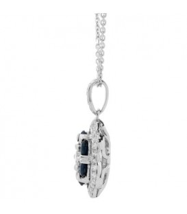 1.52 Carat Sapphire and Diamond Pendant 18Kt White Gold