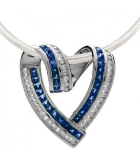 Necklaces - 2.81 Carat Sapphire and Diamond Pendant 18Kt White Gold