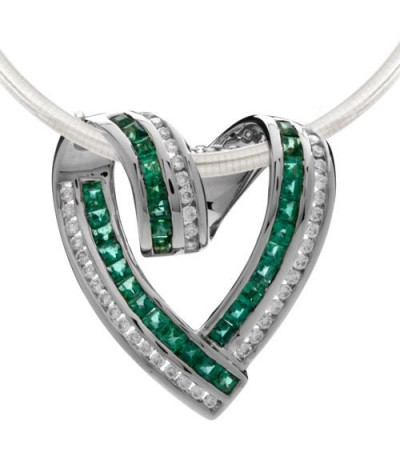 Necklaces - 2 Carat Emerald and Diamond Pendant in 18Kt White Gold