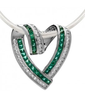 2 Carat Emerald and Diamond Pendant in 18Kt White Gold