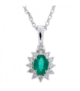 Necklaces - 0.97 Carat Emerald and Diamond Pendant 18Kt White Gold