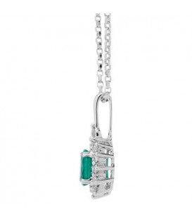 0.97 Carat Emerald and Diamond Pendant 18Kt White Gold