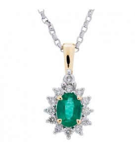 Necklaces - 0.97 Carat Emerald and Diamond Pendant in 18Kt White Gold