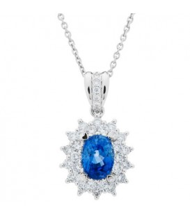 Necklaces - 1.54 Carat Sapphire and Diamond Pendant 18Kt White Gold