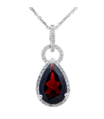 Necklaces - 3.35 Carat Garnet and Diamond Pendant 14Kt White Gold