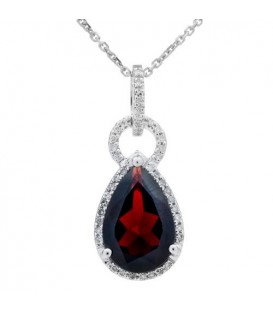 More about 3.35 Carat Garnet and Diamond Pendant 14Kt White Gold