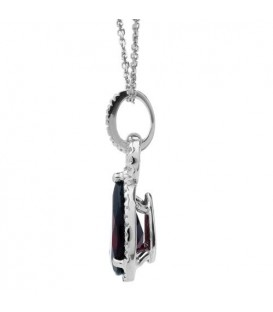 3.35 Carat Garnet and Diamond Pendant 14Kt White Gold