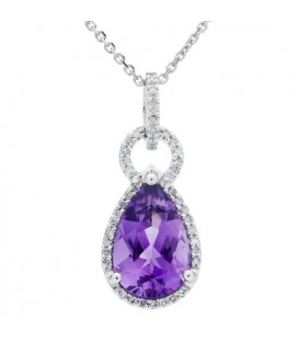 Necklaces - 3.35 Carat Amethyst and Diamond Pendant 14Kt White Gold