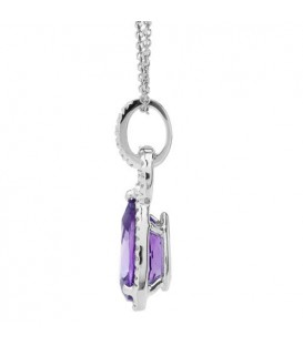 3.22 Carat Amethyst and Diamond Pendant 14Kt White Gold